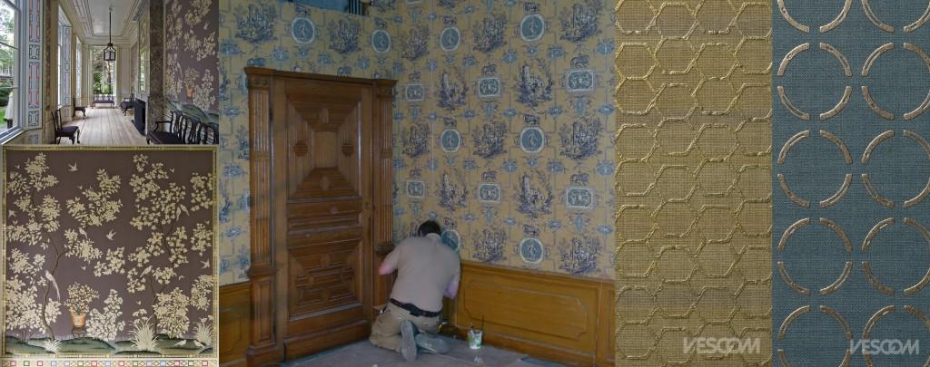 Wandbespanning Johan de Witthuis, foto D. Valentijn; Kasteel Biljoen www.oostendorp-stoffering.nl/; Vescom Textile Wallcovering V collectie www.vescom.com/nl